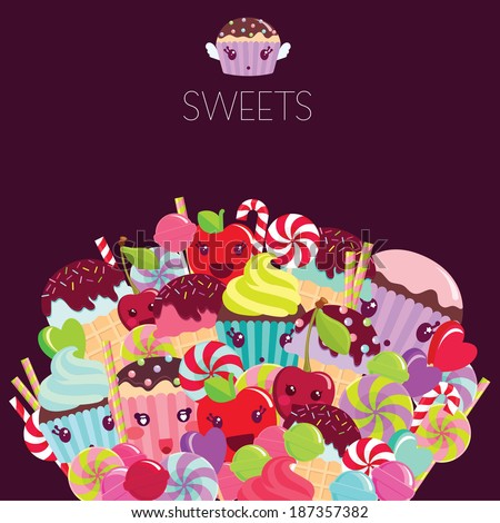 Different colorful cute sweets on dark background. Vector illustration. - stock vector