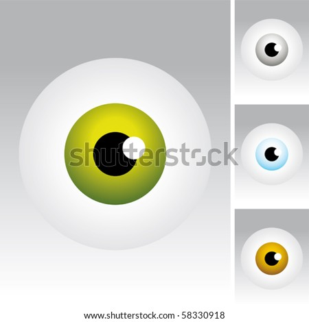 Different colors of eyeballs.
