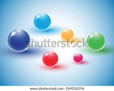 Different colour glass balls on blue background. Vector illustration. - stock vector