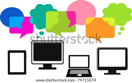 different computer icons with speech bubbles - stock vector