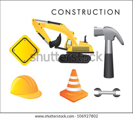 Different construction tools on white background, vector illustration