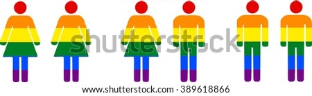 Different couples (lesbian, heterosexual, gay) - isolated illustration - stock vector