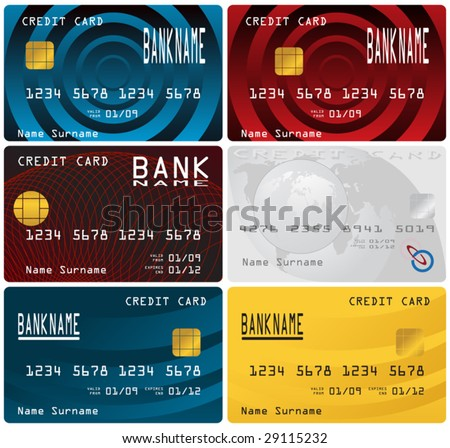 Different credit cards. - stock vector