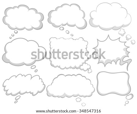 Different design of dream bubbles illustration - stock vector