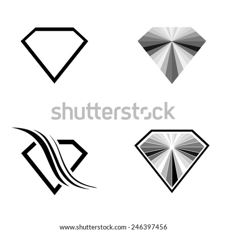 Different Diamond Logo Design Collection Over White Background - stock vector
