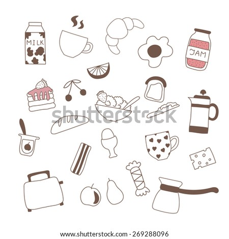 Different doodle sweetheart food, including tea, coffee, croissant and tea for breakfast - stock vector