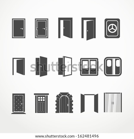 Different doors web icons collection - stock vector