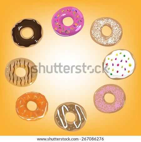 Different Doughnut Flavors in Circular Form and a center space for texts. Editable EPS10 vector and jpg illustration. - stock vector