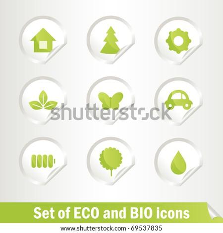 Different Eco bio  symbols, vector illustration EPS 8 - stock vector