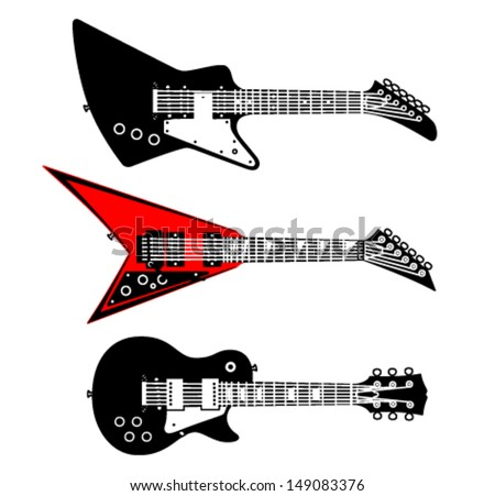 Different electric guitar, vector set, part 2 - stock vector