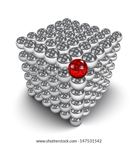 Different element. Cube made from shiny metal balls. - stock vector