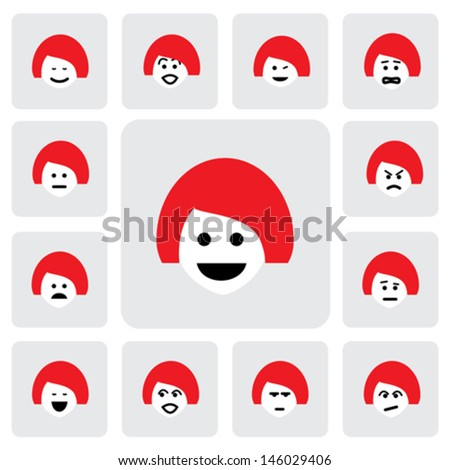 different emotions of young woman face- vector graphic. This illustration  represents feelings of being sad, happy, in doubt, feeling fear, worried, surprised, confident, feeling indifferent, naughty - stock vector