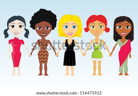 Different Ethnic cartoon girls set - stock vector
