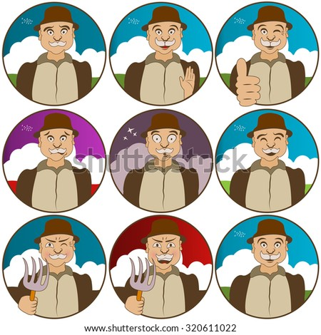 different face  expressions - villager - stock vector
