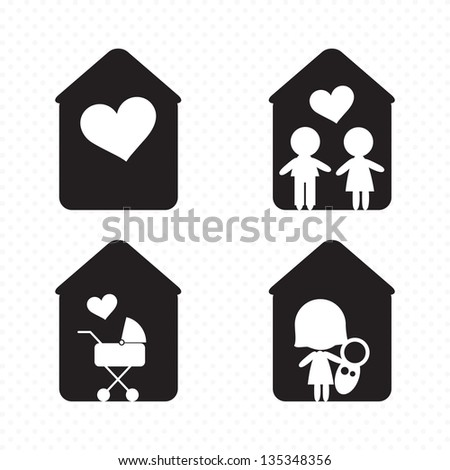 Different Family Icons (concepts, illustrations, silhouettes), Vector file - stock vector