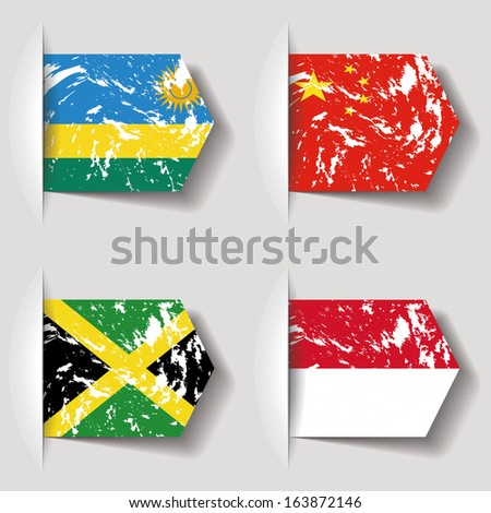 different flags with dirty effect on a white background - stock vector