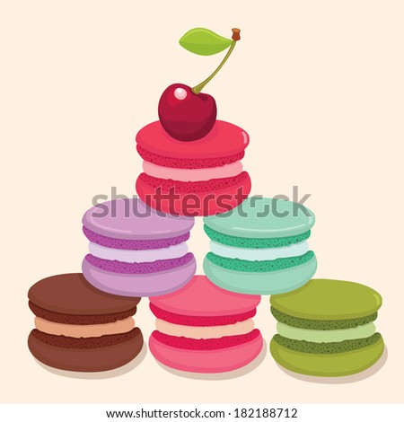 Different flavors and colors French macaroons pyramid with a cherry on the top. Vector illustration. - stock vector