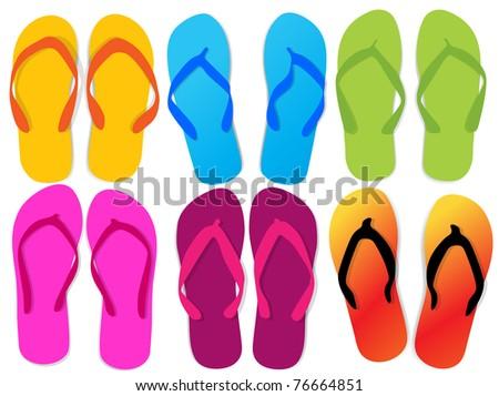 Different flip flops - stock vector