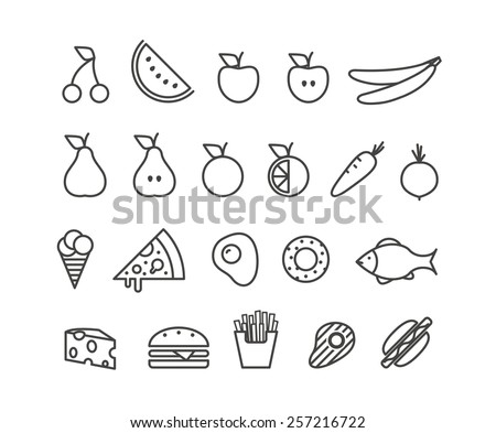 Different food silhouette icons collection. Design elements - stock vector