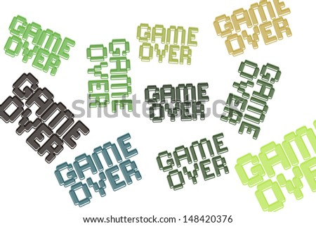 Different Game Over signs - stock vector