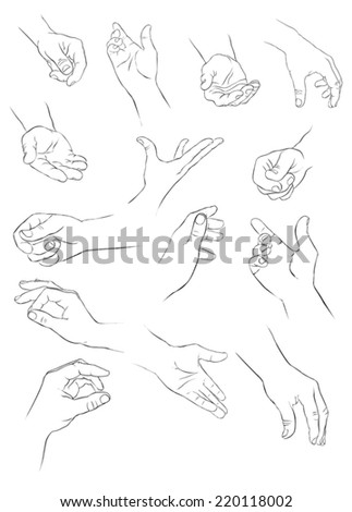 different gestures of a hand - stock vector