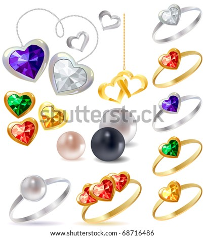 Different gold and silver rings and necklaces with gems - stock vector