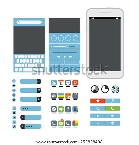 Different graphic elements set. Modern smartphone interface design - stock vector
