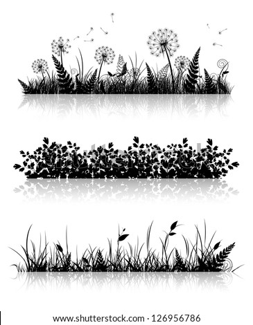 Different Grass Banner Silhouette Collection In Black and White - stock vector
