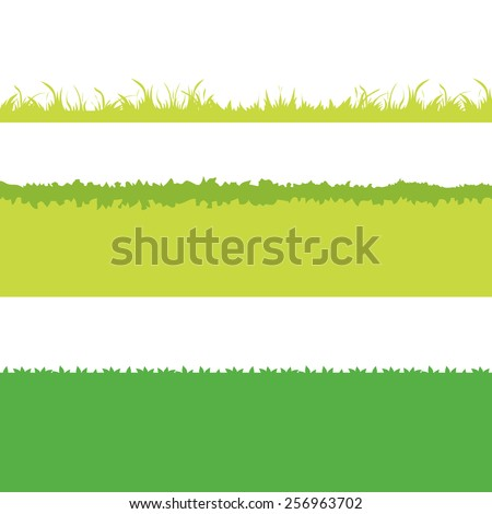 Different Green Grass. Isolated On White Background. Vector Illustration. Cartoon design elements for garden. Eps 8 - stock vector