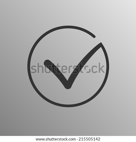 Different grey and white vector check mark or tick in circle conceptual of confirmation acceptance positive passed voting agreement true or completion of task on a list. Flat illustration logo concept - stock vector