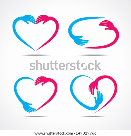 different heart shape symbol design with hand vector - stock vector
