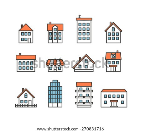 Different house silhouettes collection. Design elements - stock vector