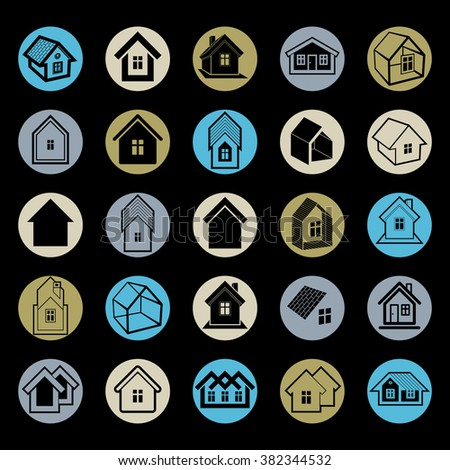Different houses icons for use in graphic design, set of mansion conceptual symbols, vector abstract property images. Real estate business abstract emblems collection.