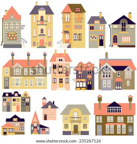 different houses isolated on a white background - stock vector