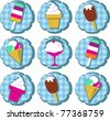 different ice-cream icons on blue background - stock photo