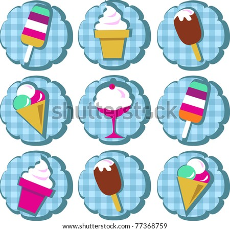 different ice-cream icons on blue background - stock vector