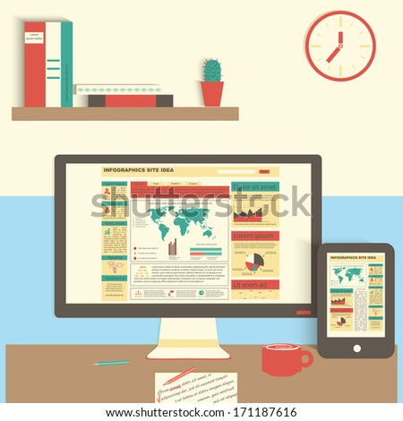 Different  icons set of business working elements for office. Flat design elements.  - stock vector
