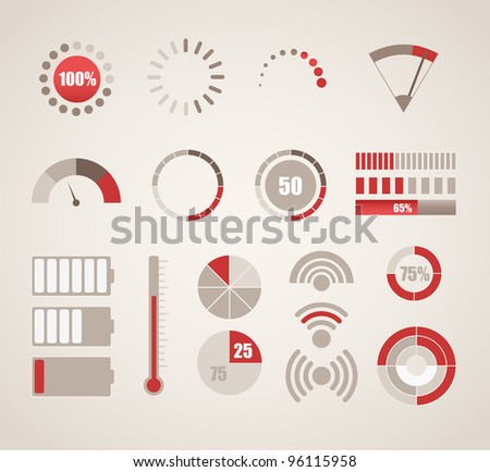 Different indicators collection - stock vector