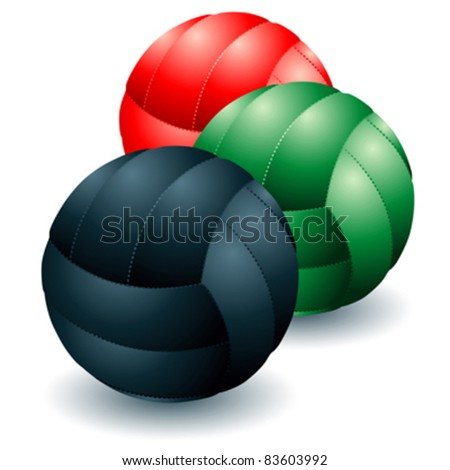 Different isolated volleyballs - stock vector