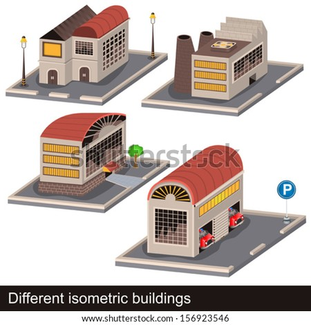 different isometric buildings - stock vector