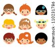 Different kids faces - stock vector