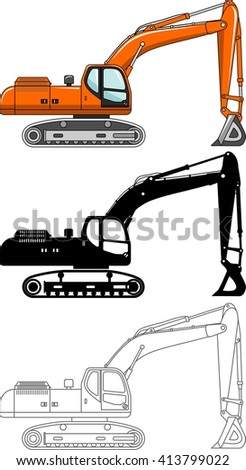 Different kind excavators isolated on white background in flat style: colored, black silhouette and contour. Vector illustration. Heavy equipment and machinery. Heavy construction and mining machines. - stock vector