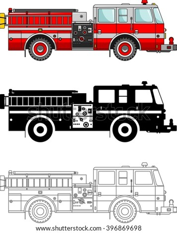 Different Kind Fire Trucks Isolated On Stock Vector