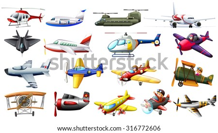 Different kind of aircrafts illustration - stock vector