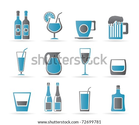 different kind of drink icons - vector icon set - stock vector
