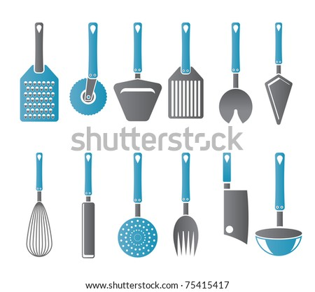 different kind of kitchen accessories and equipment icons - vector icon set