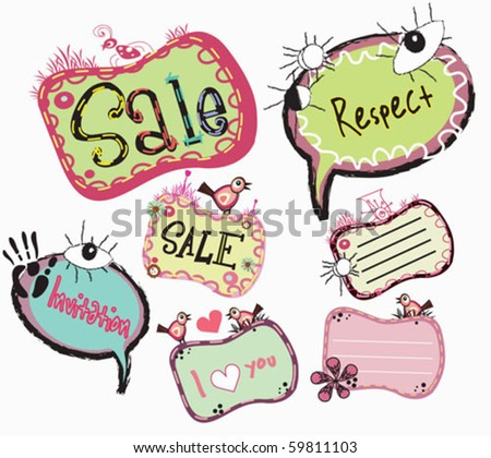 different kind of labels - stock vector