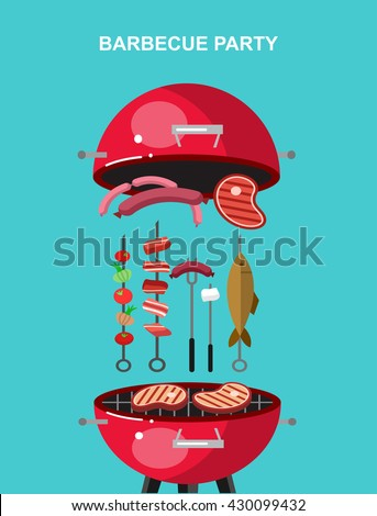 Different kind of meat on the grill illustration. picnic or Bbq party. Food and barbeque, summer and grill. Vector barbeque party, illustration barbeque party - stock vector