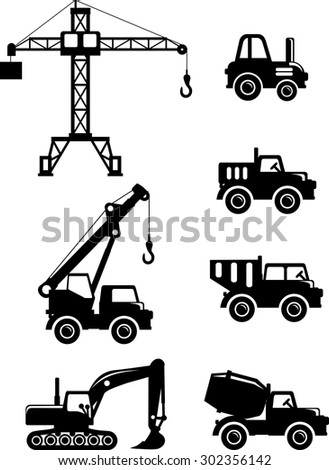 Different kind of toys heavy equipment and machinery on white background. Vector illustration.
