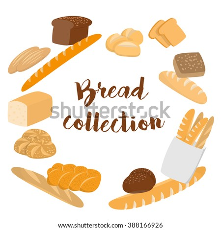 Different kinds of bread set for cafe menu. Collection of pastry or bakery items isolated on white for print or web. Cartoon bread. Frame of buns and bread with copy space for text. Packing  - stock vector